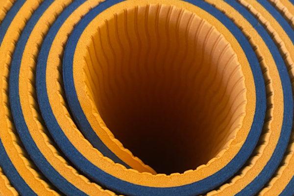 rolled blue mat